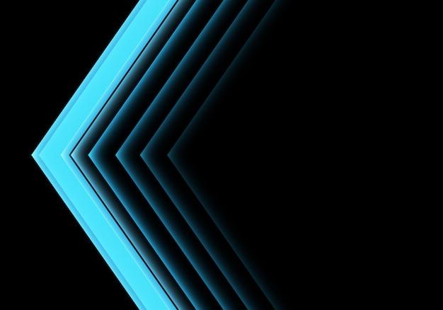 Sentido de néon da luz azul da seta no fundo preto.