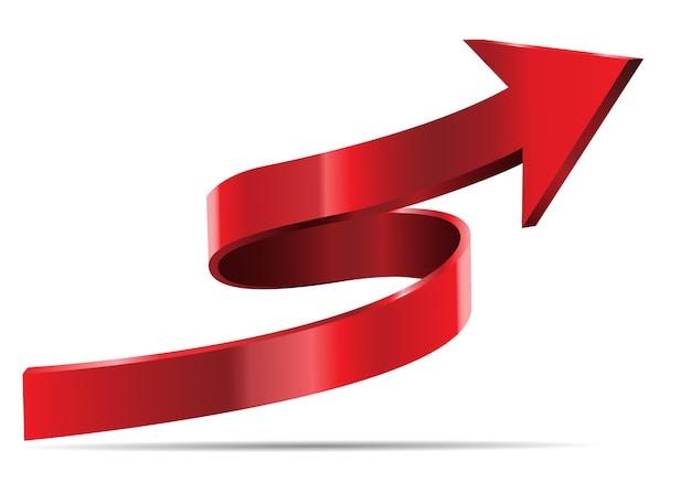 Sentido vermelho da curva da seta 3d no fundo branco.
