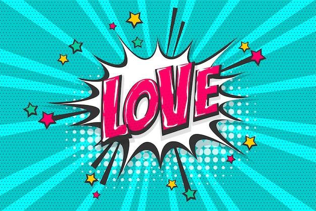 Sentimentos de amor uau coleção de texto em quadrinhos efeitos sonoros estilo pop art balão de fala vetorial