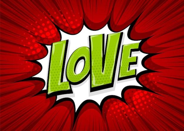 Sentimentos de amor uau colorido coleção de texto em quadrinhos efeitos sonoros estilo pop art bolha do discurso