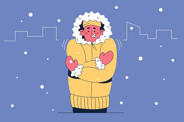 Sentindo frio e ilustração congelada