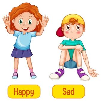 Sentindo palavras opostas com feliz e triste