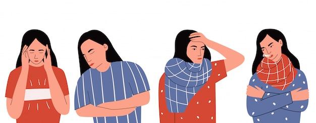 Sentou-se de mulher triste, demonstrando diferentes tipos de dor: verificar se ela tem temperatura, tendo dor de cabeça e dor de estômago. sintoma de resfriado comum, doença infecciosa. ilustração plana dos desenhos animados
