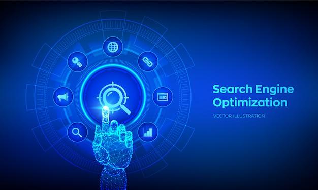 Seo. conceito de tecnologia de otimização de mecanismo de busca. mão robótica tocando interface digital.