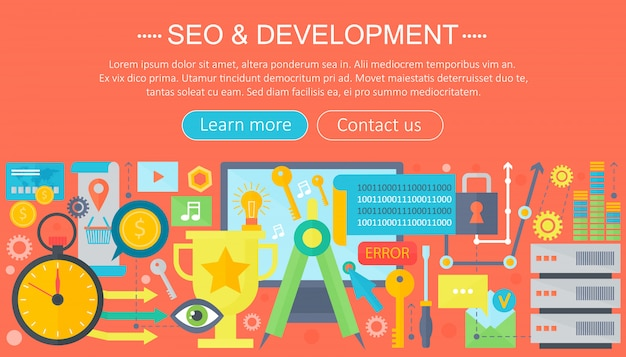 Seo e desenvolvimento conceito design infográficos modelo de design