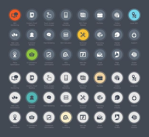 Seo e desenvolvimento conjunto de ícones
