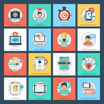 Seo e desenvolvimento planas ícones