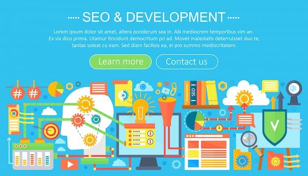 Seo e design de modelo de infografia de design de conceito de desenvolvimento