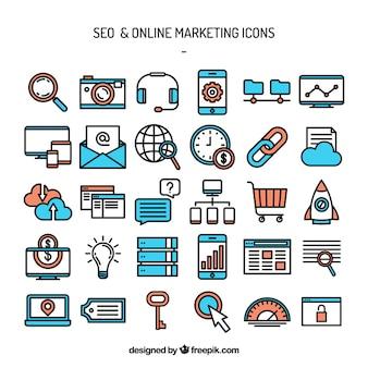 Seo e ícones de marketing online