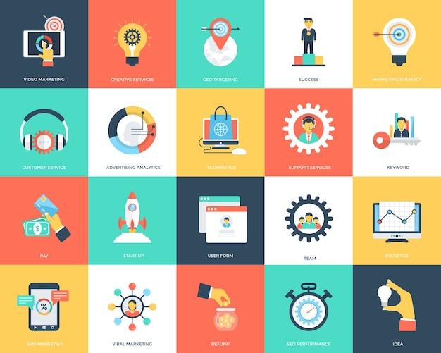 Seo e marketing ícones do vetor plana