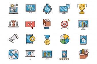 SEO e otimização web preenchido conjunto de ícones de contorno
