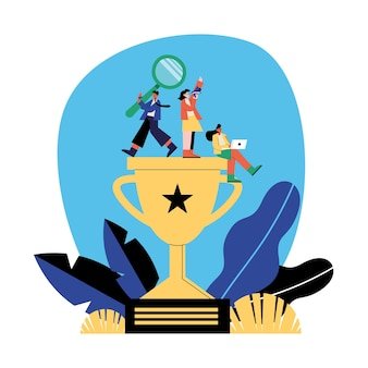 Seo e pessoas no design de troféus, marketing digital, comércio eletrônico e ilustração de temas online