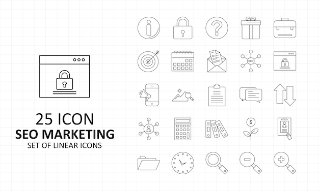 Seo icon sheet pixel perfect icons