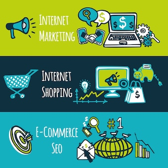 Seo internet marketing compras e-commerce colorido desenho decorativo banners definir ilustração vetorial isolado
