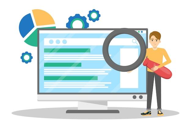 Seo ou conceito de otimização de mecanismo de busca. estratégia de marketing