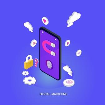 Seo ou motor de busca otimização isométrica móvel. branding e mídia digital marketing conceito vector plana