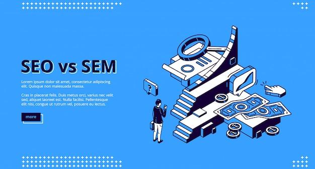 Seo vs sem desembarque isométrico, marketing digital