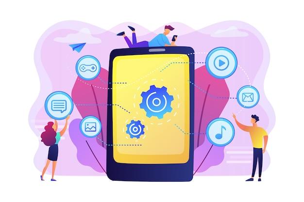 Seo, website, desenvolvimento de software. otimização de aplicativos, programação. web designers, personagens de desenhos animados de programadores. conceito de conteúdo móvel.