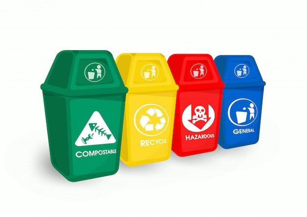 Separação de lixo e lixo de cor