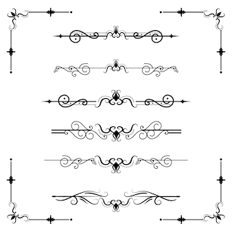Separador de texto decoratice divisor livro tipografia ornamento elementos vintage dividindo formas fronteira ilustração