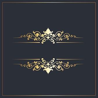 Separadores decorativos com detalhes ornamentais em ouro