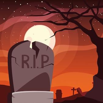 Sepultura de halloween sob lua cheia