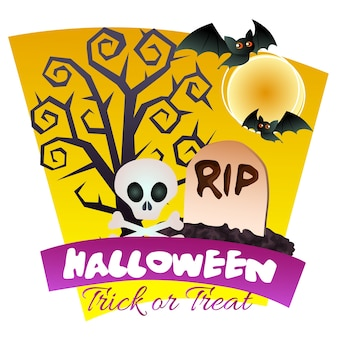 Sepulturas de halloween e tema de árvore morta