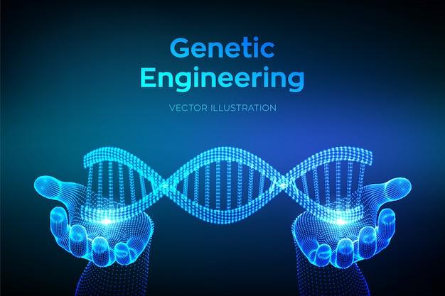 Seqüência de dna nas mãos. wireframe dna moléculas estrutura de malha. modelo editável de código de dna. conceito de ciência e tecnologia.