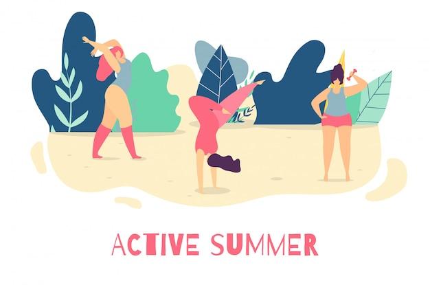 Ser ativo no verão mulher motivacional banner plana