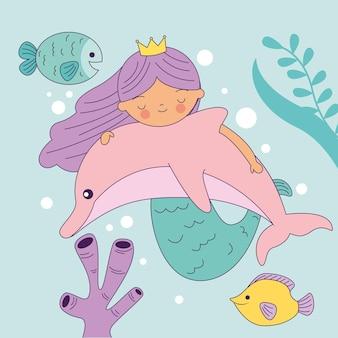 Sereia abraçando um golfinho no fundo do mar com desenhos de peixes