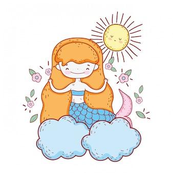 Sereia bonita com flores na nuvem
