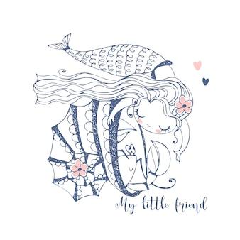 Sereia bonitinha brincando com câncer, sentado em uma concha.