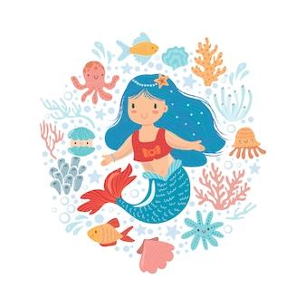 Sereia bonitinha com pequenos peixes e outros habitantes do mar