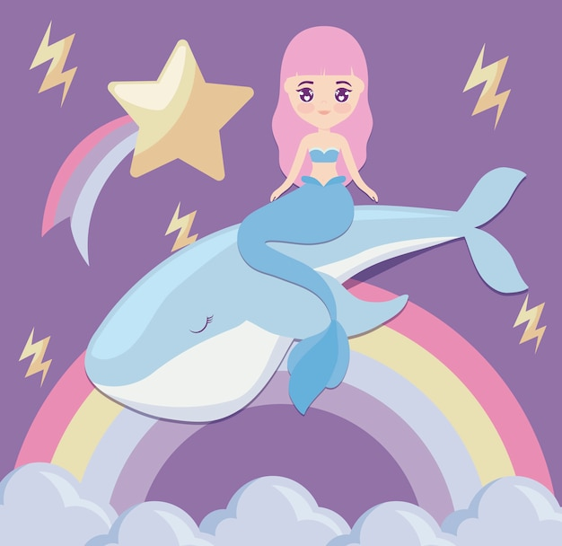 Sereia bonito com baleia e arco-íris