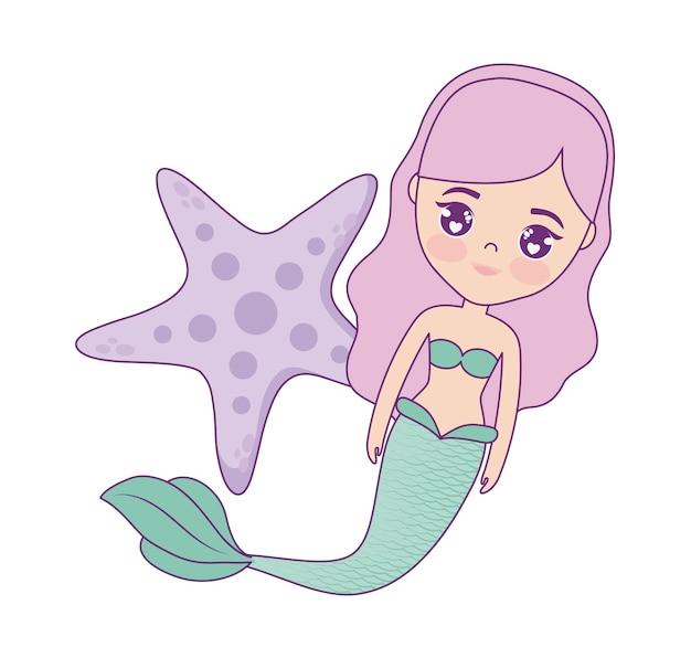 Sereia bonito com estrela do mar