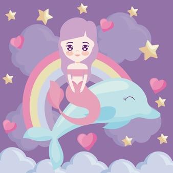 Sereia bonito com golfinho e arco-íris