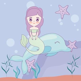 Sereia bonito com golfinho no mar