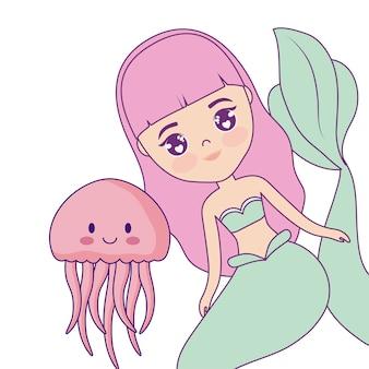Sereia bonito com medusa
