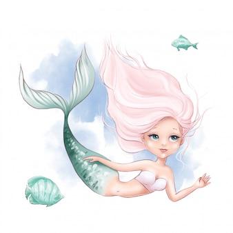 Sereia bonito dos desenhos animados e peixe em um fundo aquarela