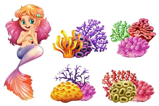 Sereia bonito e colorido recife de coral