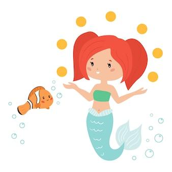 Sereia bonito kawaii faz malabarismos com bolas. ilustração com peixe-palhaço dos desenhos animados.