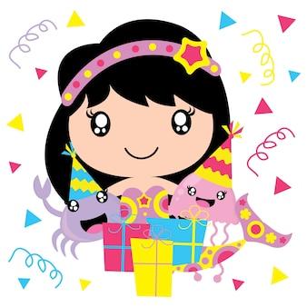 Sereia bonito, medusa e caranguejo em desenhos animados de vetores de festa de aniversário, cartão de aniversário, papel de parede e cartão de saudação, design de camisetas para crianças