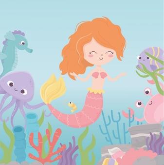 Sereia cavalo marinho polvo caranguejo camarão coral dos desenhos animados sob a ilustração vetorial de mar