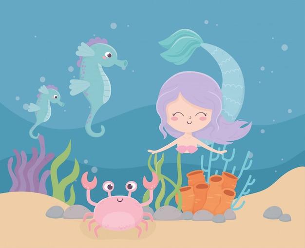 Sereia cavalos-marinhos caranguejo coral areia dos desenhos animados sob a ilustração vetorial de mar