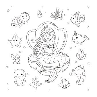 Sereia com animais subaquáticos e página para colorir de plantas para crianças