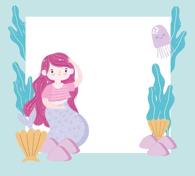 Sereia com cabelo ruivo e animais marinhos e com ilustração de banner em branco