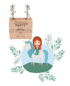 Sereia com cartão de convite de rótulo de unicórnio e de madeira