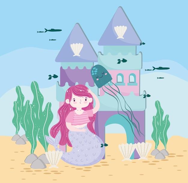Sereia com castelo, água-viva e ilustração subaquática de peixes