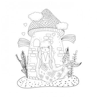 Sereia, com, castelo, submarino, cena