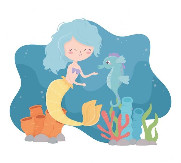 Sereia com desenhos animados de recifes de corais cavalo marinho sob a ilustração vetorial de mar